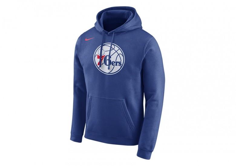 NIKE NBA PHILADELPHIA 76ERS HOODIE CLUB LOGO RUSH BLUE