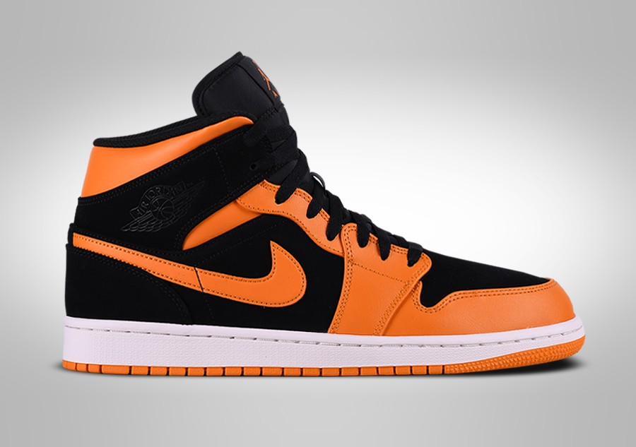 best loved 215fb 55906 NIKE AIR JORDAN 1 RETRO MID BLACK ORANGE PEEL