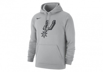 NIKE NBA SAN ANTONIO SPURS CLUB LOGO FLEECE PULLOVER HOODIE FLIGHT SILVER