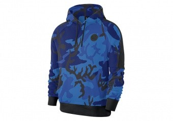 NIKE NBA GOLDEN STATE WARRIORS COURTSIDE PULLOVER HOODIE RUSH BLUE