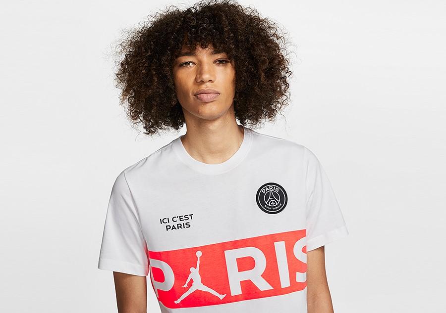 NIKE AIR JORDAN PSG PARIS SAINT GERMAIN WORDMARK TEE BLACK