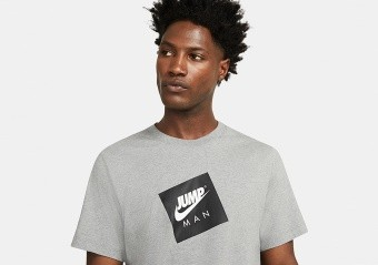 NIKE AIR JORDAN JUMPMAN BOX CREW TEE CARBON HEATHER